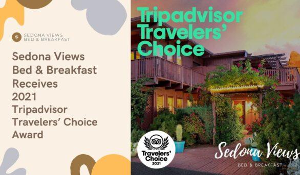 Sedona Views Bed and Breakfast Wins 2021 Tripadvisor Travelers' Choice Award